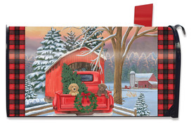 Winter Puppy Pickup Christmas Mailbox Cover