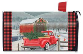 Festive Covered Bridge Christmas Mailbox Cover