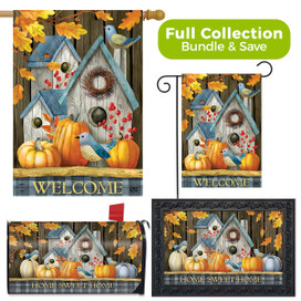 Rustic Fall Birdhouses Welcome Design Collection