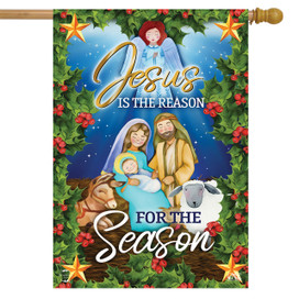 Jesus is the Reason Christmas House Flag
