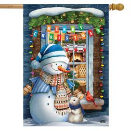 Christmas Window Snowman House Flag