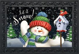Snow Time Snowman Winter Doormat