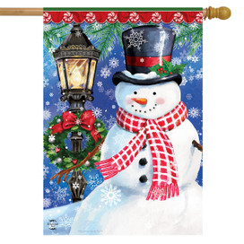Snow Country Snowman Winter House Flag