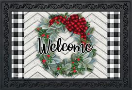 Winter Wreath Welcome Doormat
