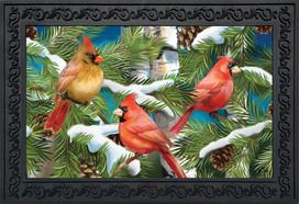 Snowy Cardinals Winter Doormat