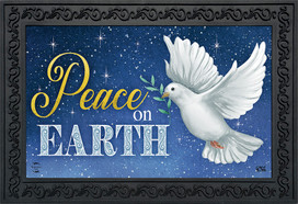 Peace on Earth Dove Christmas Doormat