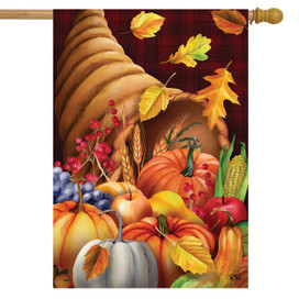 Fall Bounty Cornucopia Holiday House Flag