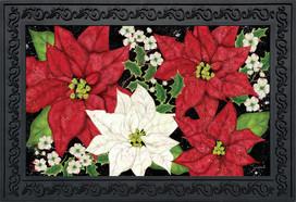 Festive Poinsettias Christmas Doormat