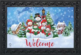 Caroling Snowmen Christmas Doormat