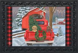 Winter Puppy Pickup Christmas Doormat