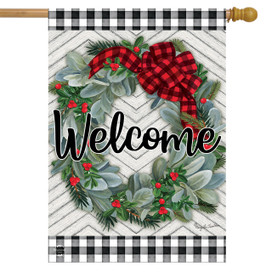 Winter Wreath Welcome House Flag