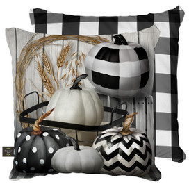 Black & White Pumpkins Fall Decorative Pillow