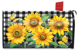 Checkered Sunflowers Summer Mailbox Cover