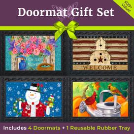 The Ultimate Seasonal Doormat Gift Set - 4 Inserts & Rubber Mat Tray Briarwood Lane