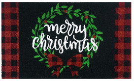 Christmas Wreath Natural Fiber Coir Doormat