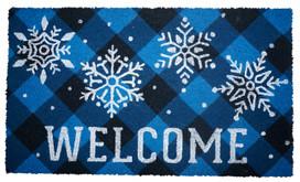 Checkered Snowflakes Winter Natural Fiber Coir Doormat