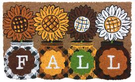 Fall Sunflowers Natural Fiber Coir Doormat