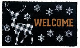 Checkered Deer Winter Natural Fiber Coir Doormat