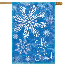 Glistening Snowflakes Winter House Flag