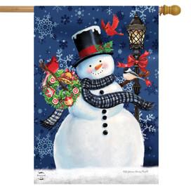 Snowman Holiday Cheer Christmas House Flag