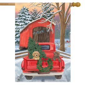 Winter Puppy Pickup Christmas House Flag