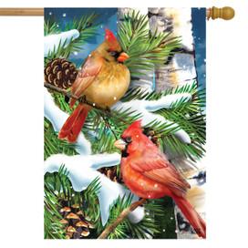 Snowy Cardinals Seasonal House Flag
