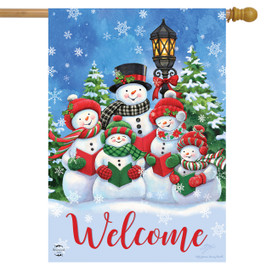 Caroling Snowmen Christmas House Flag