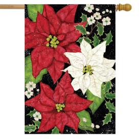 Festive Poinsettias Christmas House Flag