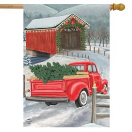 Festive Covered Bridge Christmas House Flag