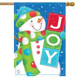 Snowman Joy Winter House Flag