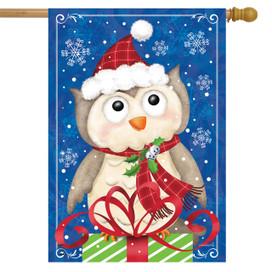 Christmas Owl House Flag