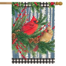 Winter Birch Tree Cardinals House Flag