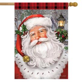 Checkered Santa Christmas House Flag