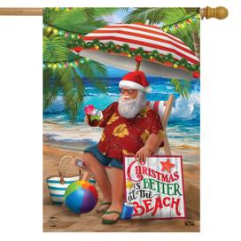 Beach Time Santa Christmas House Flag