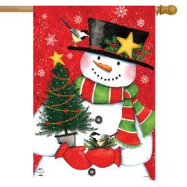 Christmas Tree Snowman House Flag