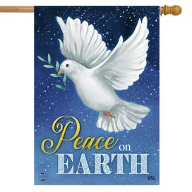 Peace on Earth Dove Christmas House Flag