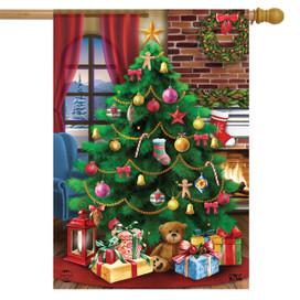Decorated Christmas Tree House Flag