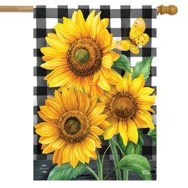Checkered Sunflowers Summer House Flag