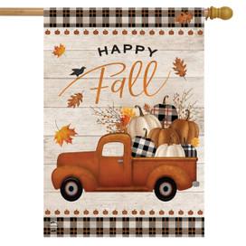 Happy Fall Pickup Truck House Flag