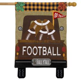 Football Truck Burlap Fall House Flag