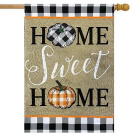 Home Sweet Home Pumpkins Burlap Fall House Flag