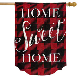 Red Checkered Home Sweet Home Burlap Winter House Flag