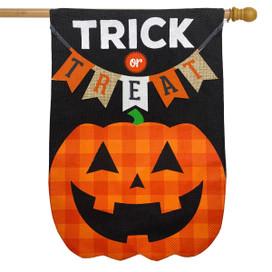Trick Or Treat Pumpkin Burlap Halloween House Flag