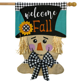 Welcome Fall Scarecrow Burlap House Flag