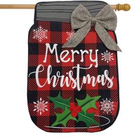 Christmas Mason Jar Burlap House Flag