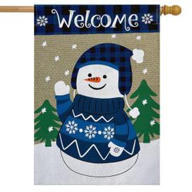 Happy Snowman Burlap Winter House Flag