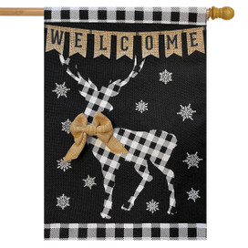 Checkered Deer Burlap Winter House Flag