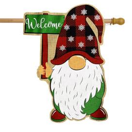 Holiday Gnome Burlap Christmas House Flag