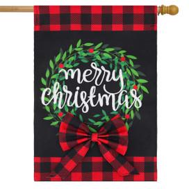 Christmas Wreath Burlap House Flag