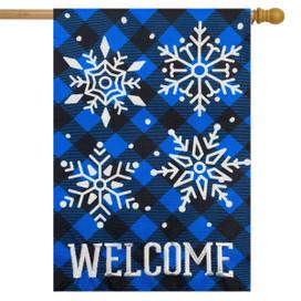 Checkered Snowflakes Burlap Winter House Flag